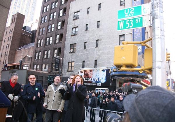Gli U2 a New York all'inaugurazione della via a loro intitolata  (Foto Kika Press & Media)