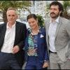 Marco Bellocchio presenta a Cannes il film «Vincere». Accanto a lui Giovanna Mezzogiorno e Filippo Timi (foto Kika Press & Media)