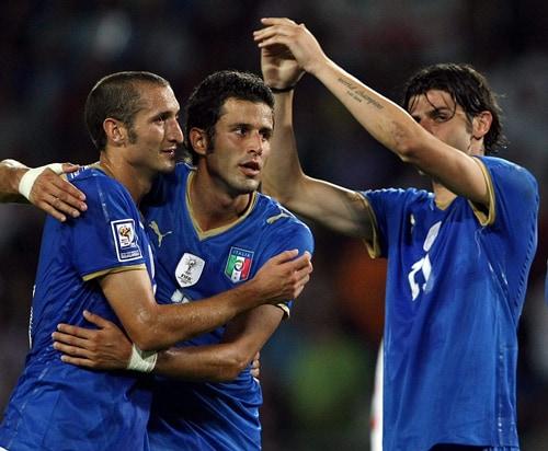 Giorgio Chiellini, Fabio Grosso e Vincenzo Iaquinta (foto Ansa)