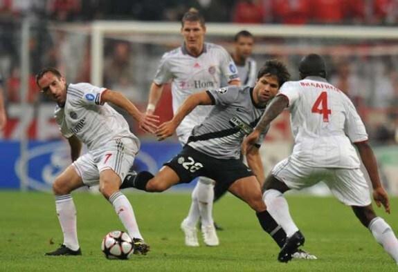 Un'azione della partita di Champions League Bayern Monaco-Juventus