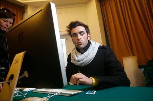 Marco Mengoni nella redazione di Sorrisi all'hotel Royal di Sanremo