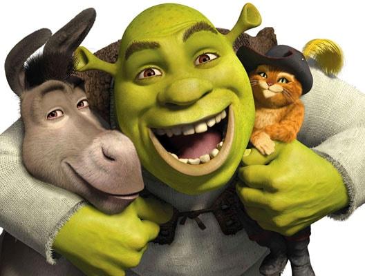 I personaggi protagonisti di «Shrek»: da sinistra, Ciuchino, Shrek e il Gatto con gli stivali