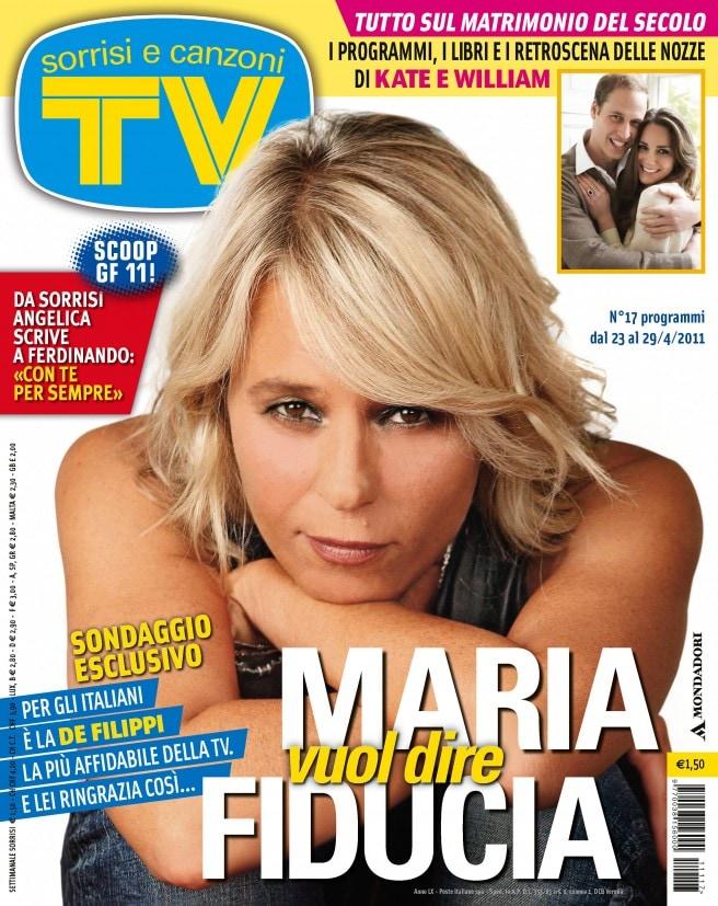 2011: Maria commenta i risultati del sondaggio che l'ha eletta «Donna più affidabile della tv»