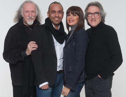 Giancarlo Golzi (a destra) e gli altri membri dei Matia Bazar: da sinistra, Piero Cassano, Fabio Perversi e Silvia Mezzanotte