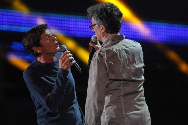 Gianni Morandi e Gaetano Curreri (foto Ansa)