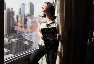 Laura Pausini: la gioia incontenibile davanti ai grattacieli